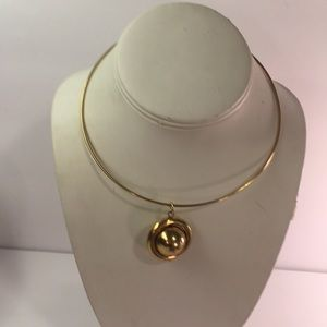 Gold Tone Ball Choker Ring Necklace